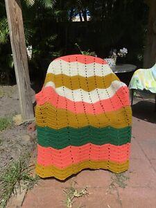 Vintage Striped Pink, Green & Gold Handmade Knit Crochet Lapghan Throw Blanket