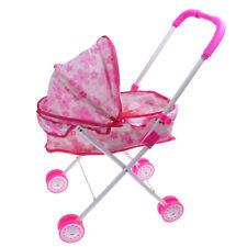 Pink Pram Buggy Plastic Pushchair Stroller Miniature Kids Pretend Play Toys