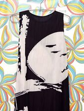 Pleated Issey Miyake Pleats Please Style Inspired Calligraphy Black&White Dress