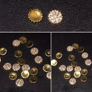 3D Gold Nail Art Flower Rhinestone Charm Alloy Metal Jewellery Decoration - 2pcs