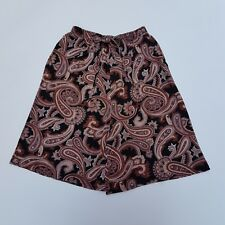 Vintage Shorts 80s Longline Brown & Black Paisley Pattern Small | 8 | 10