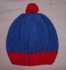 Handmade Knit Hat/Beanie - Blue & Red stan like beanie Infant size