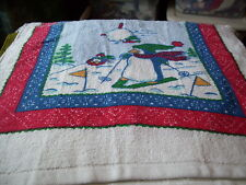Christmas  Sking Penguin Snow Crochet Top Kitchen Towel