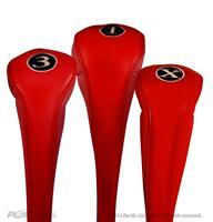 NEW RED LONG DRIVER 3 X FAIRWAY WOOD GOLF CLUB ZIPPER HEADCOVER SET head cover