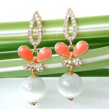 Navachi Butterfly White Opal Orange Enamel 18K GP Crystal Stud Earrings BH2320