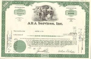 Aramark Corporation stock certificate > ARA Services