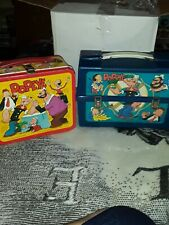 Vintage Aladdin Popeye  00004000 Lunchboxes 1979 Plastic And 1980 Metal Box W/Thermoses