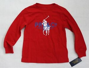 Polo Ralph Lauren Boys Red Long Sleeve Crew Neck Shirt Graphic Top Size 4