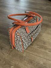 Calvin Klein Monograme Orange Leather Detail  Beige Brown handbag