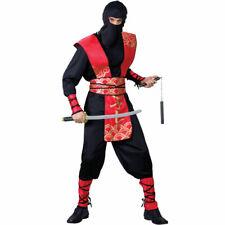 Adults Mens Ninja Master Costume for Oriental Fighter Soldier Fancy Dress