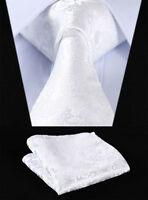 Mens Pure White Floral Silk Woven Tie Paisley Hanky Handkerchief Set 120