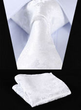 Mens Pure White Floral Silk Woven Men Tie Necktie Handkerchief Set Wedding
