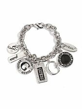 GUESS Bracelet Women's Silver & Rhinestone Fashion Bracelet with Logo Charms NWT
