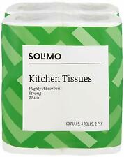 Solimo 2 Ply Kitchen Tissue Paper Roll - 4 Rolls (60 Pulls Per Roll) Free Shipp