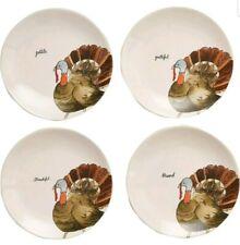 "Rae Dunn Turkey Thanksgiving Appetizer Plates - Set of 4, 8""Brand New SHIPS NOW"
