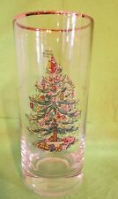 "Spode Christmas Tree 6 1/4"" Tall Tumbler Drinking Glasses Set of 4 Gold Trim"