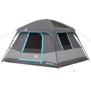 6 Person Portable Dark Rest Cabin Tent 10 x 9' Instant Shelter Outdoor Camp Gray