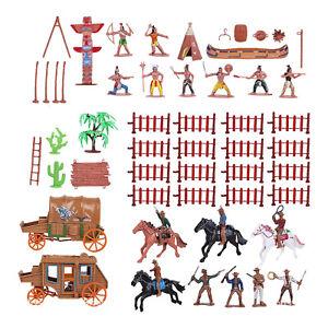43pcs/set West Cowboys  Indians Plastic Figure Soldiers Child Toys Playset