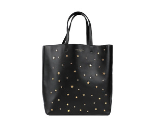 Tory Burch NEW Gold Star Stud Soft Black Leather Bucket Tote $398 Dustbag AUTH