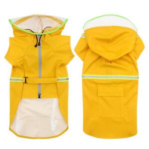 1X Pet Dog Raincoat PU Cloak Reflective Waterproof Dogs Jacket Hooded Jumpsuit