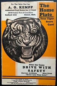 1937 Tiger Stadium MLB Baseball Scorecard Program Tigers vs Chicago White Sox