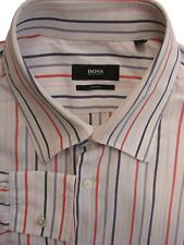 HUGO BOSS Shirt Mens 16 M White - Multi-Coloured Stripes