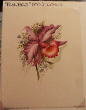 Small Vintage Floral Print LITHOGRAPH Card Flowers 1940 Donald Art Co. NY Purple