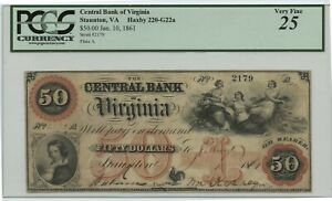 Jan 10 1861 $50 Central Bank of Virginia PCGS VF 25 Haxby 220-G22a Small Tear