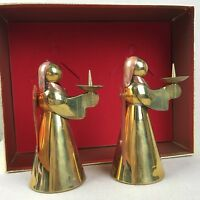 Pair of Brass Copper Angels Vintage Candle Holder Candlesticks Christmas