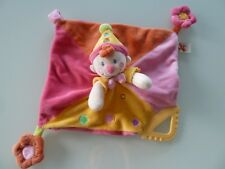 H6- DOUDOU PLAT NICOTOY CLOWN LUTIN ROSE ORANGE JAUNE  nez rond - EXCELLENT ETAT