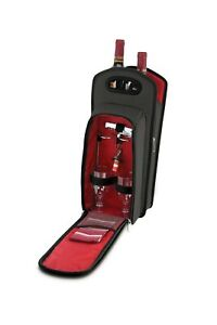 KOVOT 9 Piece Wine Travel Bag and Picnic Set Including 2 Wine Glass Holder St...