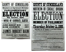 2x 1900 Old Antique Rare West Cumberland Election Posters Egremont Ephemera