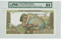 France 10000 Francs Banknote 1954 Pick#132d PMG Choice UNC 64 NET - Vintage