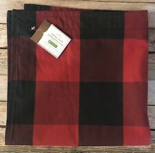 "POTTERY BARN Buffalo Check Plaid Pillow Zipper Cover Red Black 24"" Square NEW"