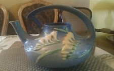 Roseville Pottery Freesia Teapot blue.
