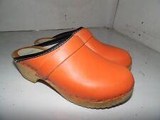 Dala Clogs Wood Orange Leather Slide On Womens Sz 34 EU