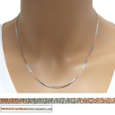 "925 Sterling Silver Rose Gold-Silver Triple Strand Spark Chain Necklace 16""-18"""