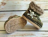 Baby Goth Emo Punk Hand Knitted Crochet Booties Boots Skulls 0-12M Camouflage