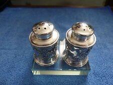 Japanese Sterling 950 Over Glass Cherry Blossom Salt & Pepper Shakers