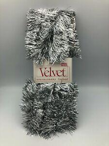 Vtg Silver Velvet Garland Christmas Tree Decoration 15' USA Natl Tinsel Mfg A2