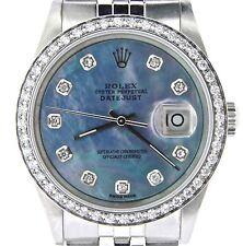 Rolex Datejust Mens Stainless Steel Jubilee w/ Blue MOP Diamond Dial & 1ct Bezel