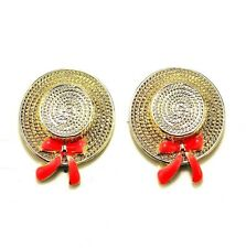 E580 Betsey Johnson Hawaii Cowboy Cowgirl Hat Red Ribbon Rodeo Rider Earrings US