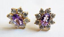 Boucles d'oreille dormeuses OR massif + améthyste + pierres blanches earrings
