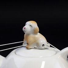86388 Porzellan Figur Lindner Tropfenfänger Hund handbemalt H4cm