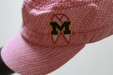Adidas NCAA Michigan Women's Pink Breast Cancer Logo Military Cadet Adj Cap Hat