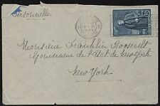 BELGIUM #220 ON COVER ADDRESSED TO GOV. F.D.ROOSEVELT (EX-FDR COLLECTION) BR8460