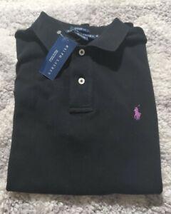 $90 NWT Mens Polo Ralph Lauren Classic Fit Short Sleeve Shirt Black/ Purple Pony