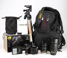Nikon D5600 Camera Dual Lens Kit AF-P 18-55mm VR + AF-S 55-200mm VR 11,755 Shots