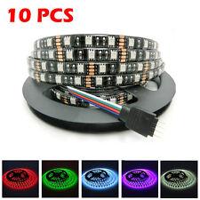 10PCS IP65 Waterproof 5M 5050 SMD 300 LED Light Strip Rope Black PCB Lamp RGB