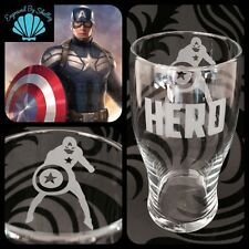 Personalised Captain America Pint Glass Gift Handmade Free Name Engraving Marvel